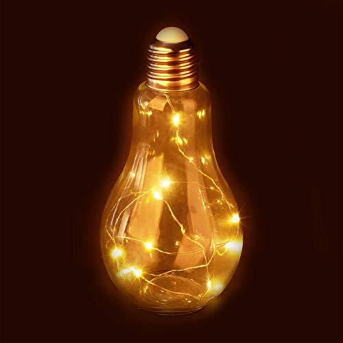 Relaxdays Lámpara decorativa LED, Lámpara de mesa, A pilas, Cadena de luces, Transparente
