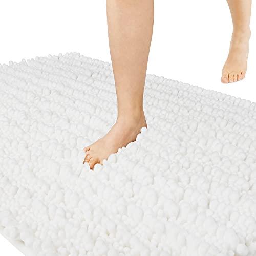 Yimobra Alfombrilla de baño de microfibra antideslizante grande, alfombra de baño ducha suave de alta absorción, Blanco, 31.5 X 19.8 Inch