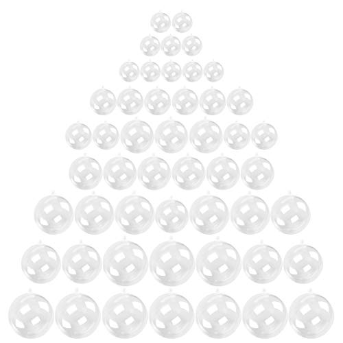 Kingrol 50 Pack Clear Plastic Fillable Ornaments Ball for Christmas, Wedding, Party, Home Decor, DIY Art and Craft Supplies, 1-1/8, 1-1/2, 2, 2-3/8, 2-3/4 Inch