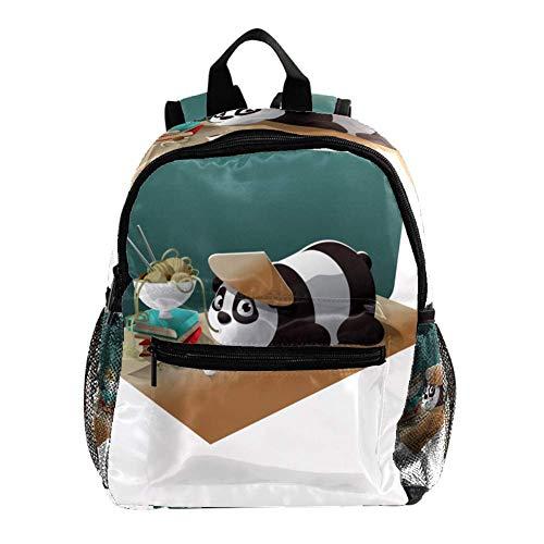 Schultasche für Kinder Panda, der Nudeln isst Kinderrucksack Babytasche minirucksack für 3-8 Jährige Jungen und Mädchen im Kindergarten 25.4x10x30 cm