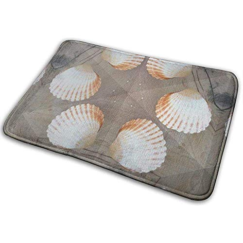 SESILY Miesmuschel-Muster-Weiß-Grau-Kaleidoskop-Strand-Tür-Matten-Rutschfester Außentür-Matten-Eingangs-Teppich