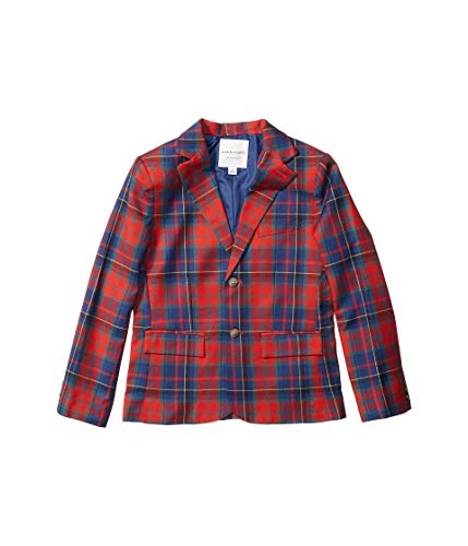 Janie and Jack Boy's Dress Blazer (Little Kids/Big Kids) Red Plaid 7 (Big Kids)