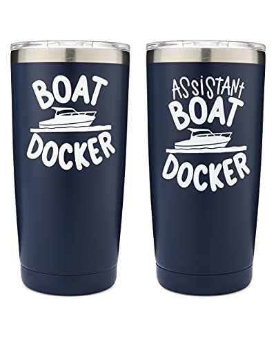 The Navy Knot - Boat Docker and Assistant Boat Docker Tumbler Set of 2 - 20oz - Stainless Steel - For the Lake, Water, Boaters, and Boat Owners - Double-Insulated - Powder Coated - Travel Mugs