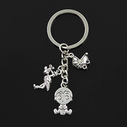 ZPZZPY Silver Color Metal Men Car Keychain Vintage Baby Girl Boy Baby Pacifier Cloth Charms Accessory Men Key Ring Gifts