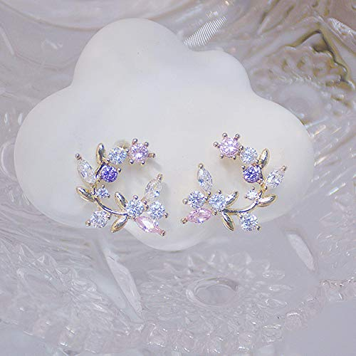 SALAN S925 Aguja De Plata Exquisita Flor Mariposa Pendientes De Mujer Bling Brillante AAA Zircon Cz Pendiente De Tuerca Colgante De Joyería De Boda