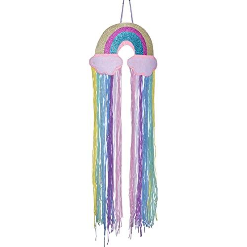 vincente Organizador de arco iris para el pelo para la habitación de las niñas, almacenamiento de clip de pelo largo, borla arco iris accesorios de pared para decoración