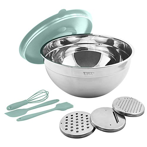 KXMYT Stainless Steel Mixing Bowls Set of seven, 4.5L Metal Bowls with Airtight Lids, Non-Slip Bottoms, Easy to Clean, Great for Cooking, Baking, Serving, Food Prep,Green
