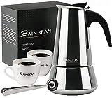 RAINBEAN Cafetera Italiana 6 Tazas/300ml, Cafetera Espressos en Acero Inoxidable, Para la Cocina de inducción,Cafetera Moka Clásica, Uso Doméstico y en la Oficina(con 2 Tazas, Cuchara)