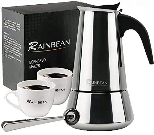 RAINBEAN Moka Pot Cafeteras de Acero Inoxidable 430 para Estufa, Cafetera Exprés 6 Tazas (taza espresso = 50 ml), Juego que Incluye 2 Tazas de Porcelana, Cuchara de Acero Inoxidable, (300 ml / 10 oz)