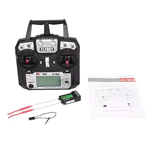 Flysky FS-TM10 FS-i6X 10CH 2.4GHz Transmisor AFHDS RC Modelo de Sistema de Control Remoto con Receptor FS-IA10B-Negro-1 Tamaño