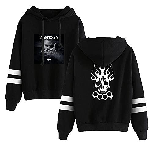 Kontra K Printing Hoodied Fashion Hoodie Pullover Sweatshirt Unisex Harajuku Trainingsanzug Gr. Large, Schwarz