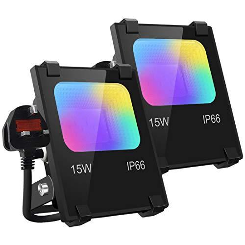 Mobri LED Flood Lights Outdoor, 15W Bluetooth Smart Floodlight APP Control, Colour Changing RGB 100W...