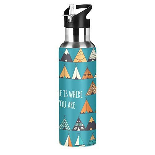 MNSRUU Tent Water Bottle Insulated for Girls Boys, Stainless Steel Water Bottle with Straw, 20oz