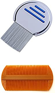 2pcs Terminator Lice Comb Nit Free Kids Hair Rid Headlice Superdensity Stainless Steel Metal Comb And Double Sided Nit Fin...