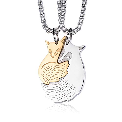 Wolentty Couples Fox Necklace - Stainless Steel Fox Couple Pendants Jewelry for Men Women Gifts