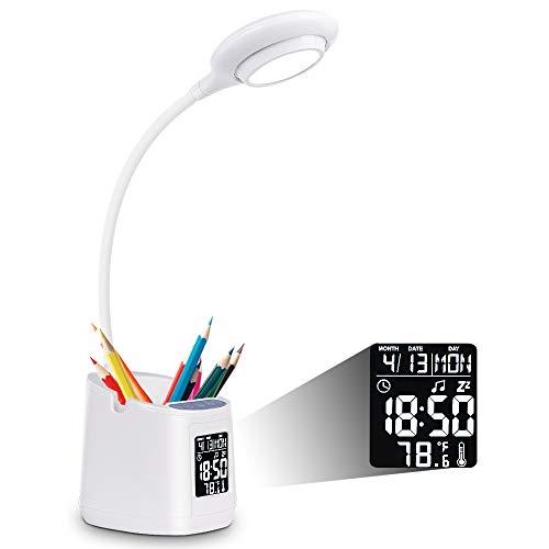 Lámpara de Escritorio, Lámpara de Estudio LED con Soporte, Lámpara de Mesa Regulación sin Escalones, Luz de Escritorio (Hora, Alarma, Fecha, Temperatura) Lámpara de 3 Colores para Estudio / Lectura