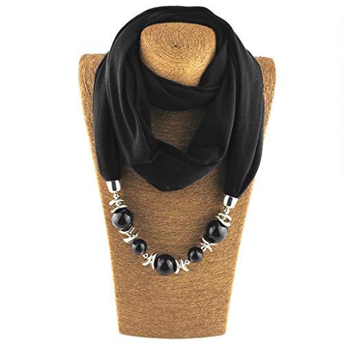 WOWOWO Damenmode Halstuch Ring Schal Halsketten Perlen Einfarbiger Schmuck Schal