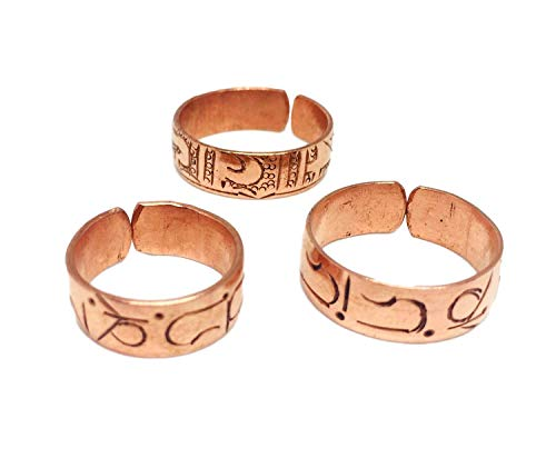 Set of 3 Hand Forged Copper Rings. Made with 100% Pure Raw Untreated Copper. Helps Reduce Finger Joint Pain and Swelling. Handcarved Tibetan Healing Medicine Ring Set.