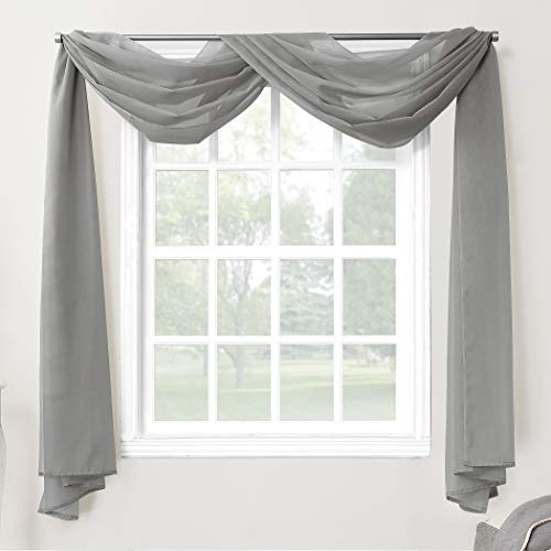No. 918 53566 Emily Sheer Voile Rod Pocket Curtain Panel, Valance Scarf, Charcoal