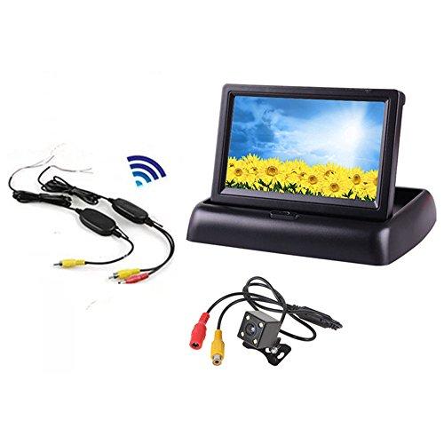 Boomboost 4,3 Pouces Pliable TFT LCD Voiture arrière Vue arrière Moniteur + 4led CCD Voiture caméra Vision Nocturne + sans Fil émetteur récepteur