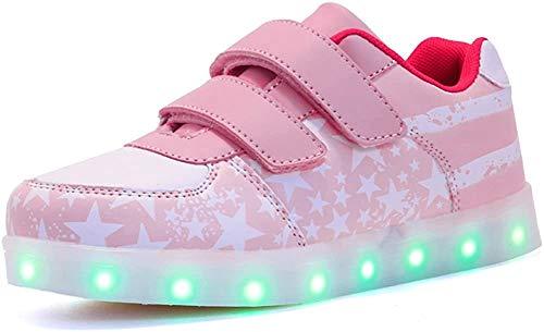 Voovix Unisex-Kinder Licht Schuhe mit Fernbedienung Led Leuchtende Blinkende Low-top Sneaker USB Aufladen Shoes für Mädchen und Jungen(Rosa/X,EU33/CN33)