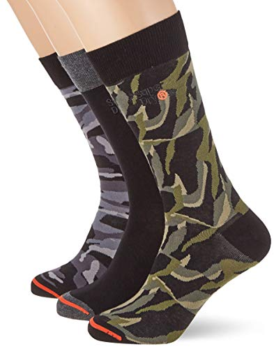 Superdry Herren City Triple Pack Socken, Schwarz (Black Camo A15), Small/Medium