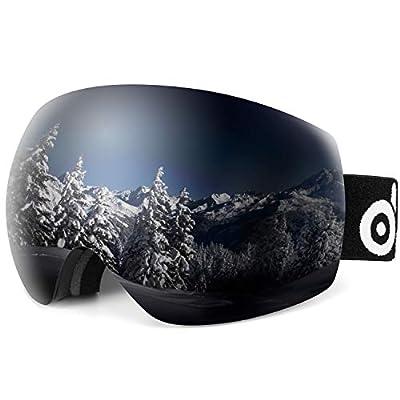 Odoland Large Spherical Frameless Ski Goggles, S2 OTG Double Lens Goggles, UV400 Protection and Anti-fog