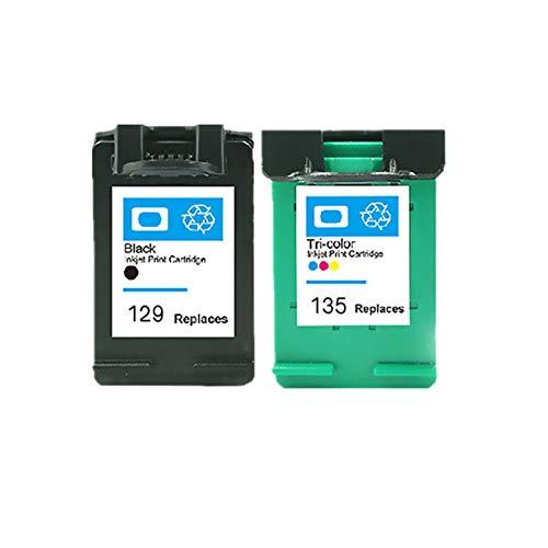 XIAOFANG Fangxia Store Ajuste Compatible para HP 129 135 Cartucho de Cartucho para HP129 Cartucho de Tinta Ajuste para HP DeskJet C4183 5943 6943 6983 D4163 2575 Impresora (Color : 1bk 1color)