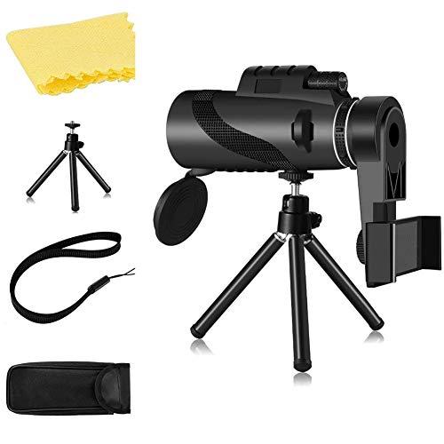 Haude Telescopio monocular 12X50, monocular impermeable de alta potencia con soporte para smartphone, para observación de aves al aire libre caza