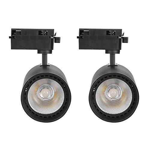 Fdit Cabezales de iluminación de riel LED de 2 Piezas, Foco de Techo de iluminación de exposición de Arte, Foco de ángulo Ajustable, AC220V 30W 4000K(Negro)