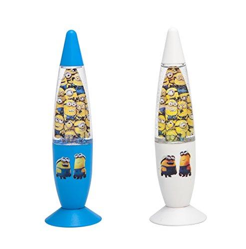 Joy Toy Despicable Me Minions 90325 - Lámpara de Lava LED, con Brillantes, 18 cm x 6 cm, en 2 diseños Distintos, Color Azul y Blanco