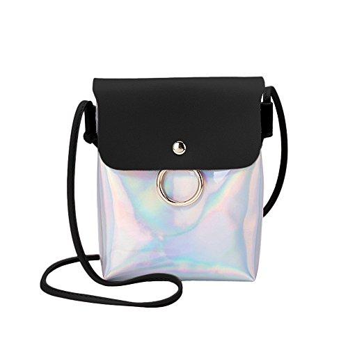 Zolimx Portable diagonal kleine quadratische Tasche Umhängetasche Handtasche, Frauen Mode Laser Cover Ring Haspe Umhängetasche Schultertasche Münztelefon Tasche (Schwarz)