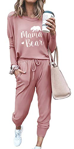 ETCYY NEW Lounge Sets for Women Sweatsuits Sets Two Piece Outfit Long Sleeve Pant Workout Athletic Tracksuits Pink