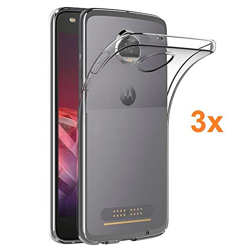 REY Pack 3X Cover in Gel TPU Trasparente per Motorola Moto Z2 Play, Ultra Sottile 0,33 mm, Morbido Flessibile, Custodia Silicone