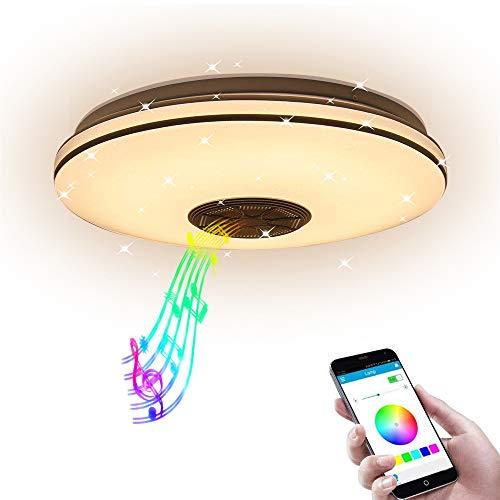 AEUWIER Lámpara de techo con música LED regulable, 3 modos de iluminación Lámpara de techo con altavoz Bluetooth regulable de 36 W, luz que cambia de color RGB de 34 cm para salón dormitorio (34 cm)
