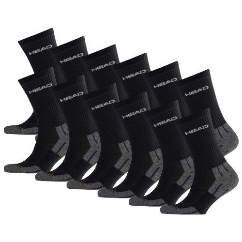 HEAD Unisex Performance Crew Socken Sportsocken 12er Pack black 200 - 43/46