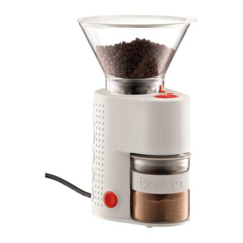 Bodum Elektrische Kaffeemühle Bistro (Kegelmahlwerk, Verschiedene Mahlstufen, 160-Watt) cremefarben