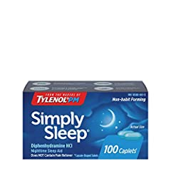 100-count bottle of Simply Sleep Nighttime Sleep Aid to help relieve occasional sleeplessness by easing you into sleep so you wake up feeling refreshed and ready for your day Each caplet of this adult sleep aid contains 25 mg of diphenhydramine hydro...