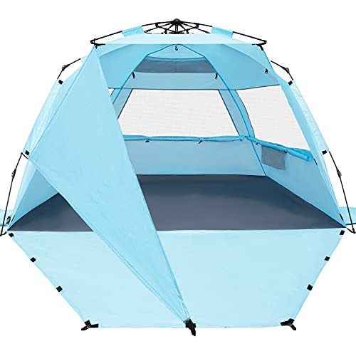 KO-ON XXL Beach Tent Sun Shelter Pop Up , Easy Setup Beach Shade for 4 Person with UPF 50+ Protection, Extra Shade on One Side, Extended Floor & 3 Ventilation Windows(Light Blue)
