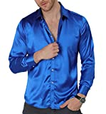 VICALLED Men's Satin Luxury Dress Shirt Slim Fit Silk Casual Dance Party Long Sleeve Fitted Wrinkle Free Tuxedo Shirts Blue
