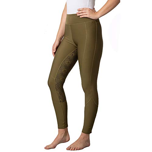 Ladies Horse Riding Tights Created From A Four Way Strength Fabric That Provides You With A Flawless Full Coverage Khaki 10