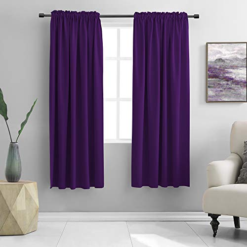 DONREN 72 Inch Length Blackout Window Curtain Panels for Bedroom - Rod Pocket Blackout Solid Curtains for Dining Room(Purple,42 W x 72 L 2 Panels)