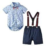 Happy Cherry - Niños Traje Bebés para Fiesta Boda Ceremonia Conjunto de Ropa Formal Verano Algodón Pantalones Cortos+Corbata+Camisa para Infantil de 18-24 Meses - Azul