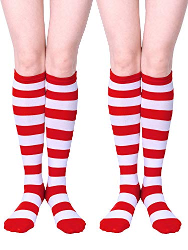 URATOT 2 Pairs Halloween Striped Knee High Socks Halloween Cosplay Costume Red and White Stripe Stockings for Child and Adult