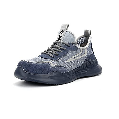 Zapatos de Seguridad Hombre Mujer Punta de Acero Ligero Calzado de Trabajo Transpirables Antideslizantes Zapatillas Deportivos Botas de Seguridad Negro Azul 853blue46