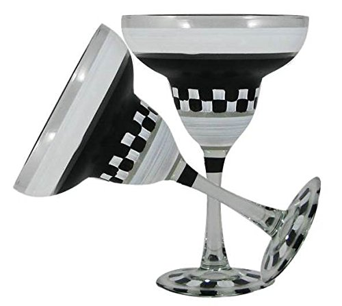 Golden Hill Studio Hand Painted Cake Stand with Cover Set of 2 - Black and White Checkered Chalk Collection - Painted Glassware by USA Artists - Unique and Decorative Glasses, Personalize with Chalk