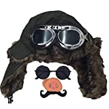 [pkpohs] 豚の鼻 豚 パイロット 飛行士 コスプレ 仮装セット 飛行帽 ハロウィン (グリーン)