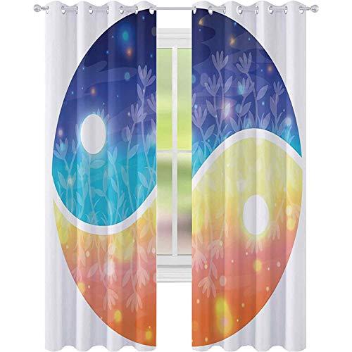 Cortinas opacas, símbolo Yin Yang con luces vigas de armonía del universo tema degradado, 52 x 72 cortinas opacas modernas para dormitorio, multi