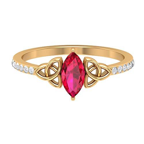 Anillo de diamante y rubí creado en laboratorio de 1 ct, anillo de diamante HI-SI, anillo solitario con piedra lateral, anillo de compromiso nudo celta, 14K Oro amarillo, Size:EU 52