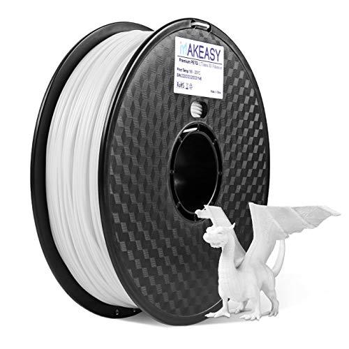 PETG 1.75 Filamento 1kg MAKEASY Filo 1.75mm PETG per Stampante 3D - Bianco